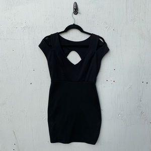 Solemio Black Stretch Cut Out Dress